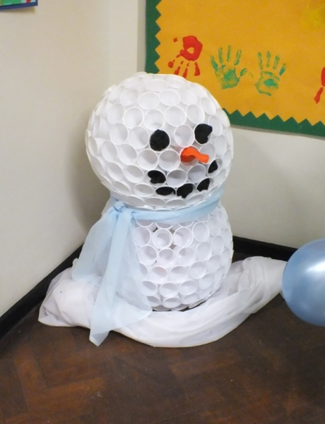Winter wonderland for school the snowman colorcitos for Plastic cup snowman